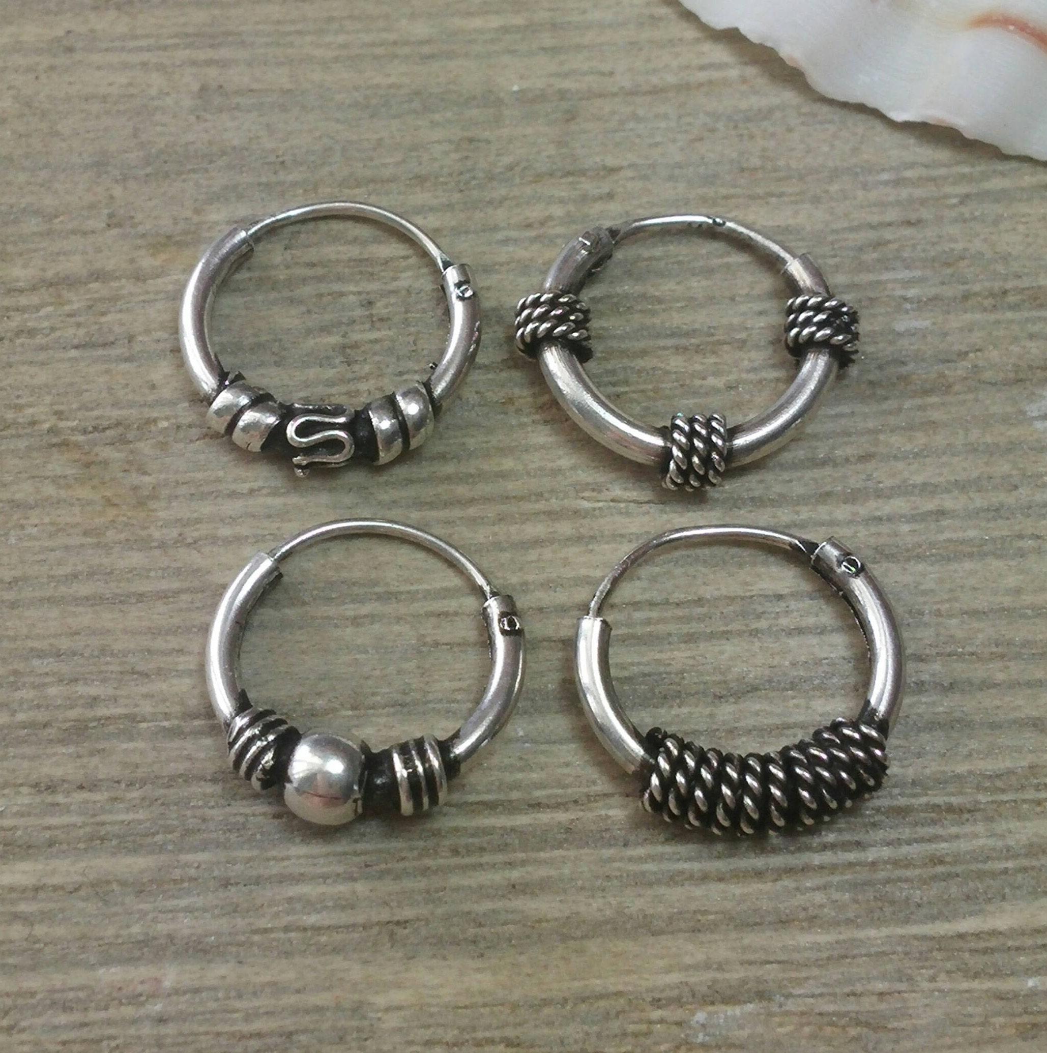 hoop earrings sterling silver hoop small hoops silver etsy. Black Bedroom Furniture Sets. Home Design Ideas