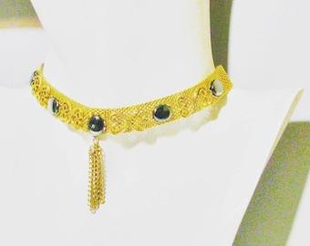 Vintage Necklace Mixed Coloured Rhinestone Adjustable Length Mesh Choker 60s 70s Jewellery