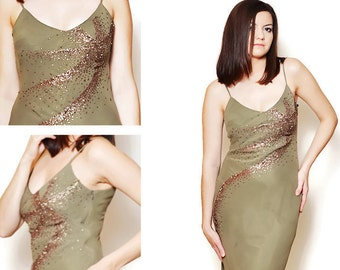 63da67dc6e 90s sexy prom dress deep cleavage tight dresses fitted bodycon strap  embroidered open back olive green shiny salsa glittering evening ruffle
