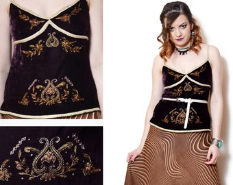 90s embroidered top brown beaded shirt floral pattern baroque print boho blouse spaghetti strap tank deep cleavage elegant bohemian party