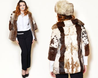 a3f820baaa68 80s rabbit fur coat genuine furs real winter short button up fitted fur  jacket sexy tight collar high neck 3 4 sleeve boho fur elegant soft