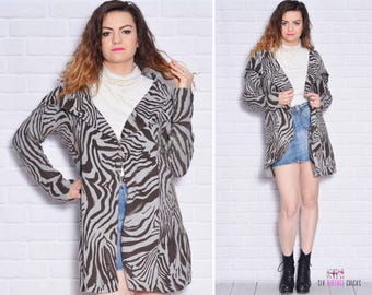 e94167aa73a Zebra Sweater Pattern Cardigan Collared Gypsy Long Sleeve Edgy Cover up  Animal Cable Knit Cotton School