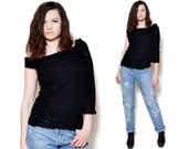Off The Shoulder Black Sweater Top Semi Sheer Tiered Pattern Blouse One Sleeve Cape Top Boat Neck Sweater Large