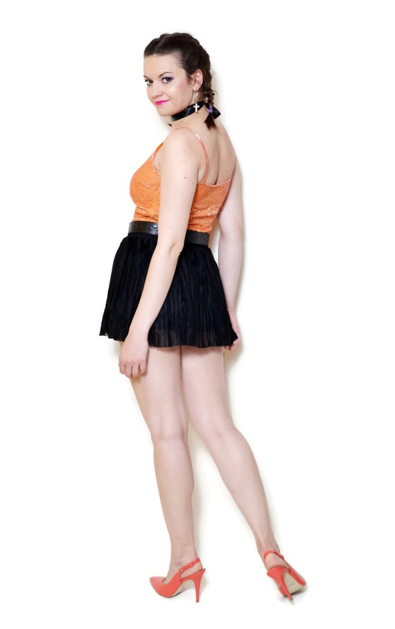 tight Tank tops Edgy Deco Silk Babydoll Embellished 90s Strap Spaghetti orange Art Beaded Women blouses Vintage Gatsby sleeveless Clubbing EqwRtU0