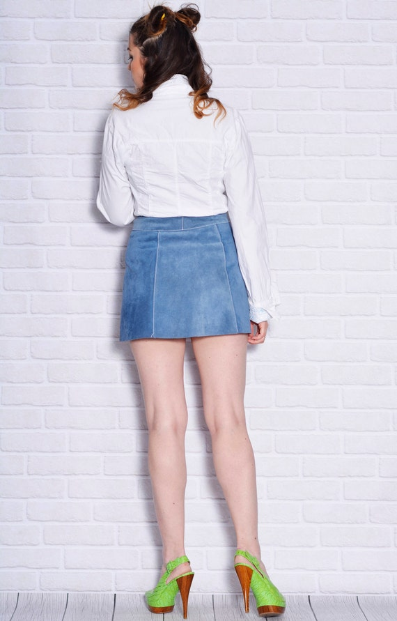 A Disco Clothing Short Leather 70s Disco Leather line Suede Woman Styled Dance Skirt Hippie Blue Button Mini Women Vintage Pocket qwvafIv