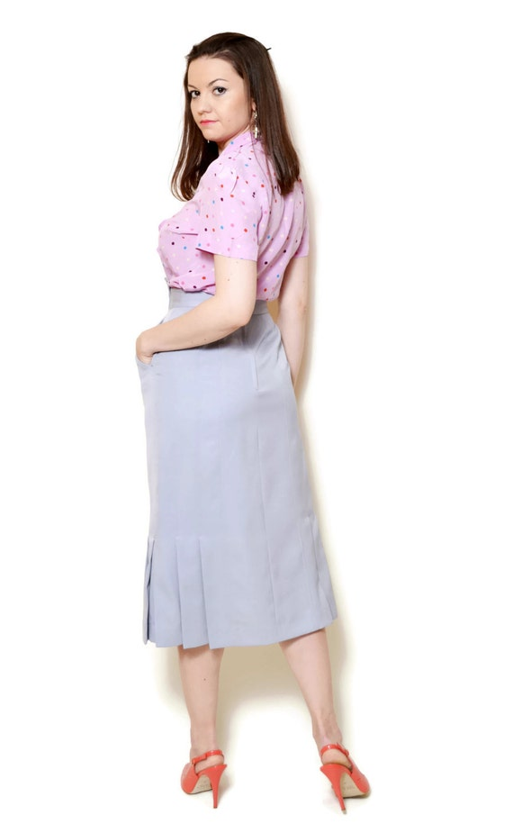 waist Deadstock high wiggle pleated elegant 90s skirt grey pencil designer tight ash clothes sexy pockets fitted skirts wool office gathered Y0qTpxw0
