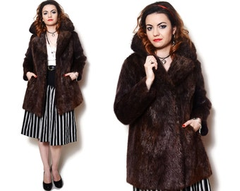 Fur Coat Vintage Brown Jacket Long Short 80s Furry Collared Fluffy Women Audrey Hepburn Bombshell Elizabeth Taylor Fur Vintage