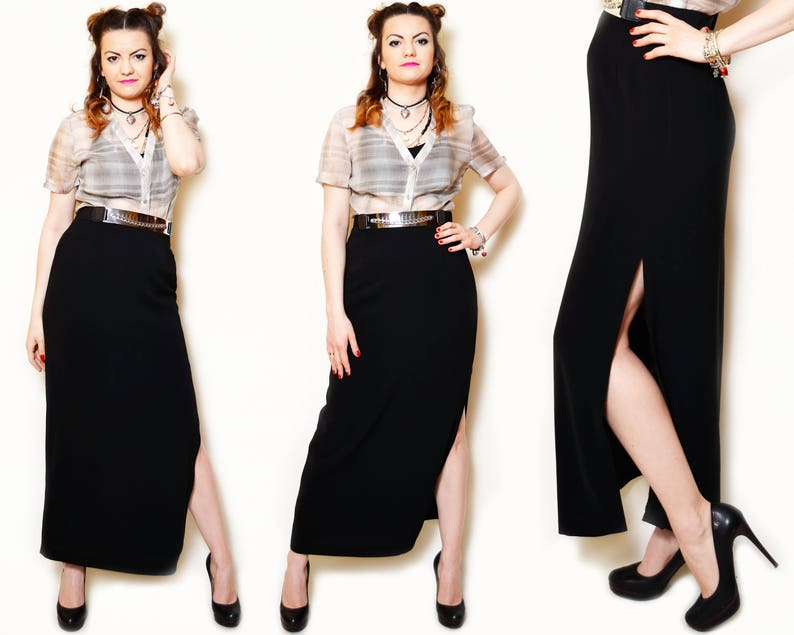 3f30bf1165d1 90s black maxi skirt high slit sexy slitted fitted maxis high   Etsy