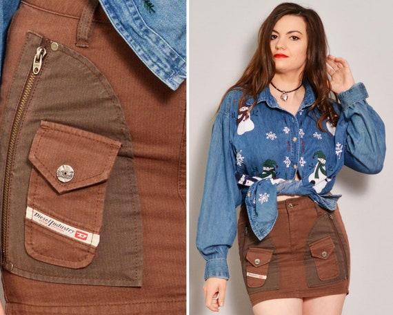 Brown Mini Cargo Skirt | Zipped Flap Pockets Pinst