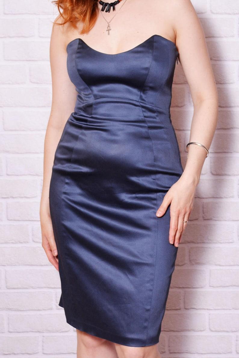 04d1c4410b08 Satin Dress Strapless Bodycon Dresses Tight Blue Vintage Navy | Etsy