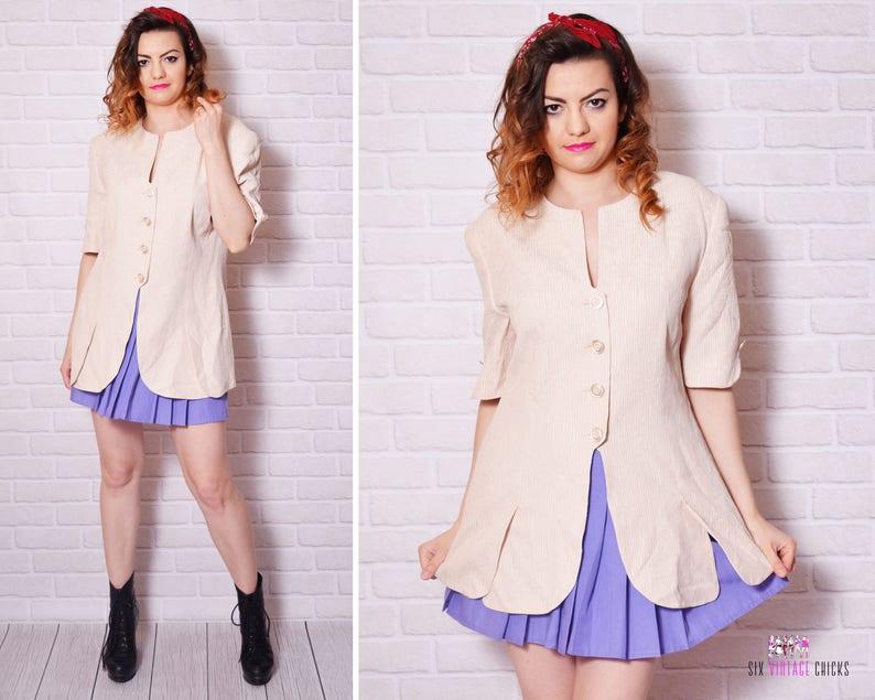 Pink Jacket Vintage Pastel Women Leaf Woman Pattern Striped Blazer Button Pin Up Mod Vintage Short Sleeve Shoulder Pad Padded Oversize