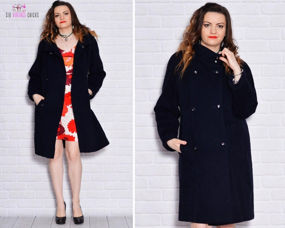 Women Old Mod Blend Wool Retro School Coat Coats Buttons Shell Long Cashmere 80s Vintage Pea Double Navy x7xBFgq