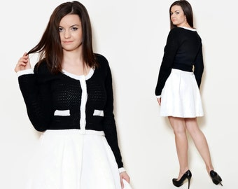 90s short cardigan black and white mod sweater 90s pin up jackie kennedy clothes tight women crochet secretary body hugging school babydoll