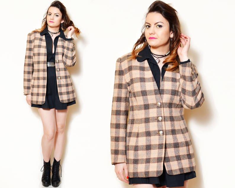 80s wool blazer retro suit jacket plaid pattern tartan print elegant textured tailored office suit formal v neck brown boho warm silky