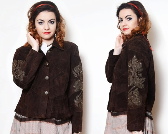 Cowboy Leather Blazer Country Jacket Jacket Beaded Cowgirl Western Patchwork Brown Baroque Suede Women Suede Brown Embroidered Embellished FOrFw