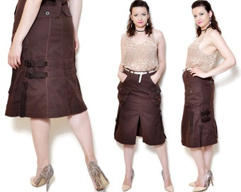 90s slitted skirt high slit cargo brown midi with pockets casual rocker grunge high waisted waist long flared fitted modern trendy urban