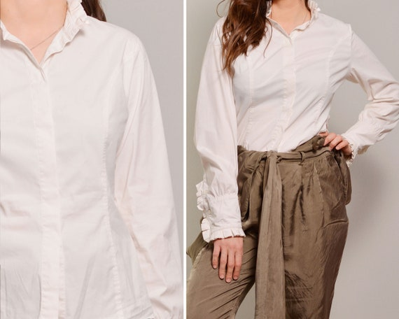 Pleated Detail White Classy Shirt | Pleated High C