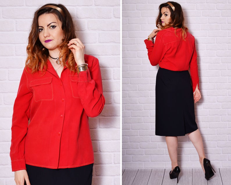 Cowboy Shirt Women Silk Cowgirl 90s Country Blouse Red Silk Long Sleeve Western Blouses School Red Vintage Embroidered Rock and Roll Edgy