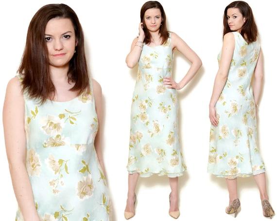 4015ed2dfdf Midi Dress Vintage Pastel Floral 90s Flower Rose Linen Dresses