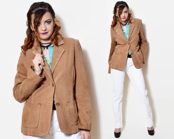2cbfeb128b093 90s leather jacket fitted blazer tailored brown suede country