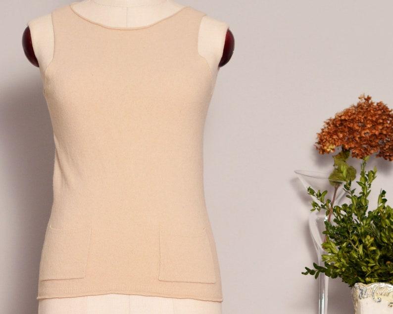 52f05cbeef Wool Tank Top with Side Pockets Beige Plain Sweater Top