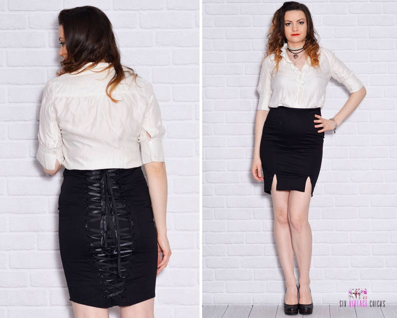 2cfef9d37 Corset Skirt Lace Up Pencil Bombshell High Waist Slit Tight | Etsy