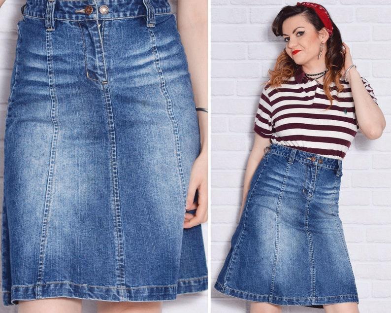 e744e4a91dc21f High Waisted Jean Skirt Medium Wash 90s Denim Skirt Flared | Etsy