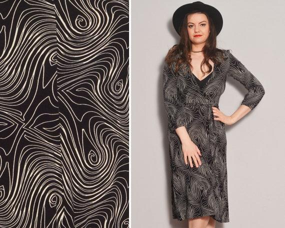 Black and White Wrap Dress | Swirl Pattern Deep V