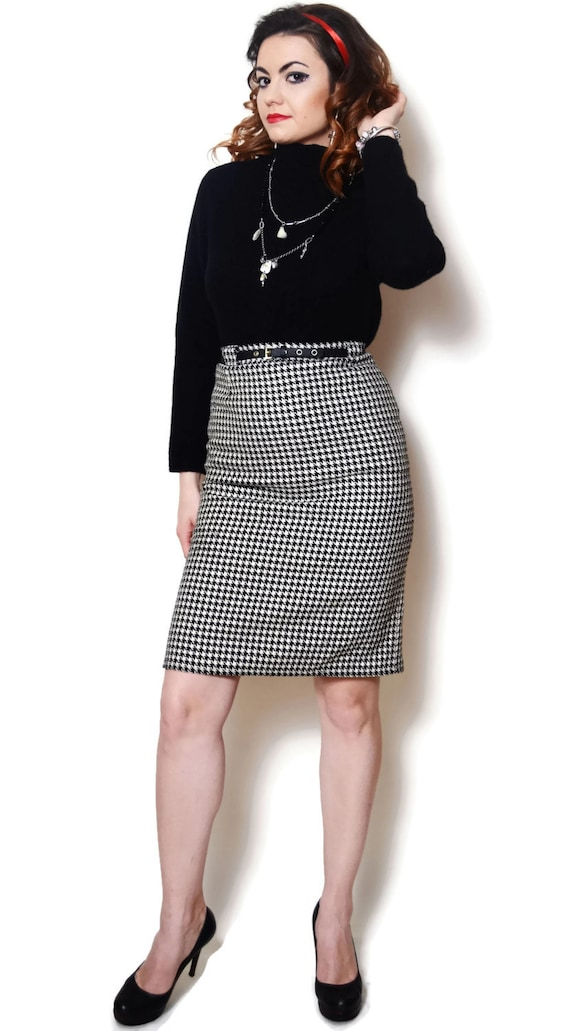 5ce2bf580a 80s pencil skirt high waist skirts black and white Slit   Etsy