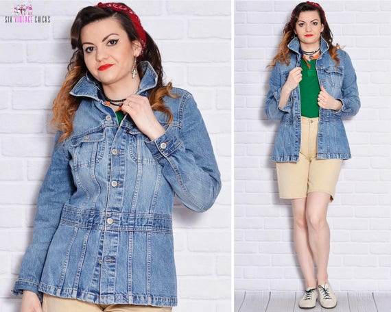 Grunge Rocker Washed Blazer Button Jacket Denim 90s Blazer Down Blue Waisted Fitted Jean Long Cotton Womens Jeans 0FPgwn