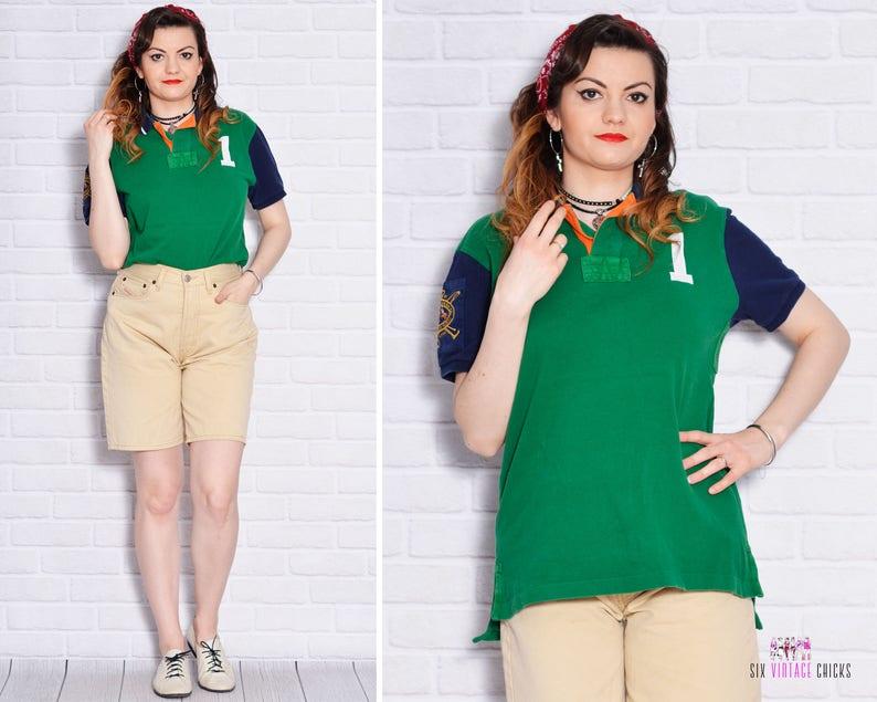 Green Polo Shirt Embroidered Tee Cotton T Collar Tshirt Button Up Short Sleeve Top Athletic Sport Vintage Boyfriend Unisex School Tomboy