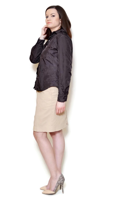 44833f76c3ac97 90s brown shirt loose waist top long blouse cuff sleeve boho