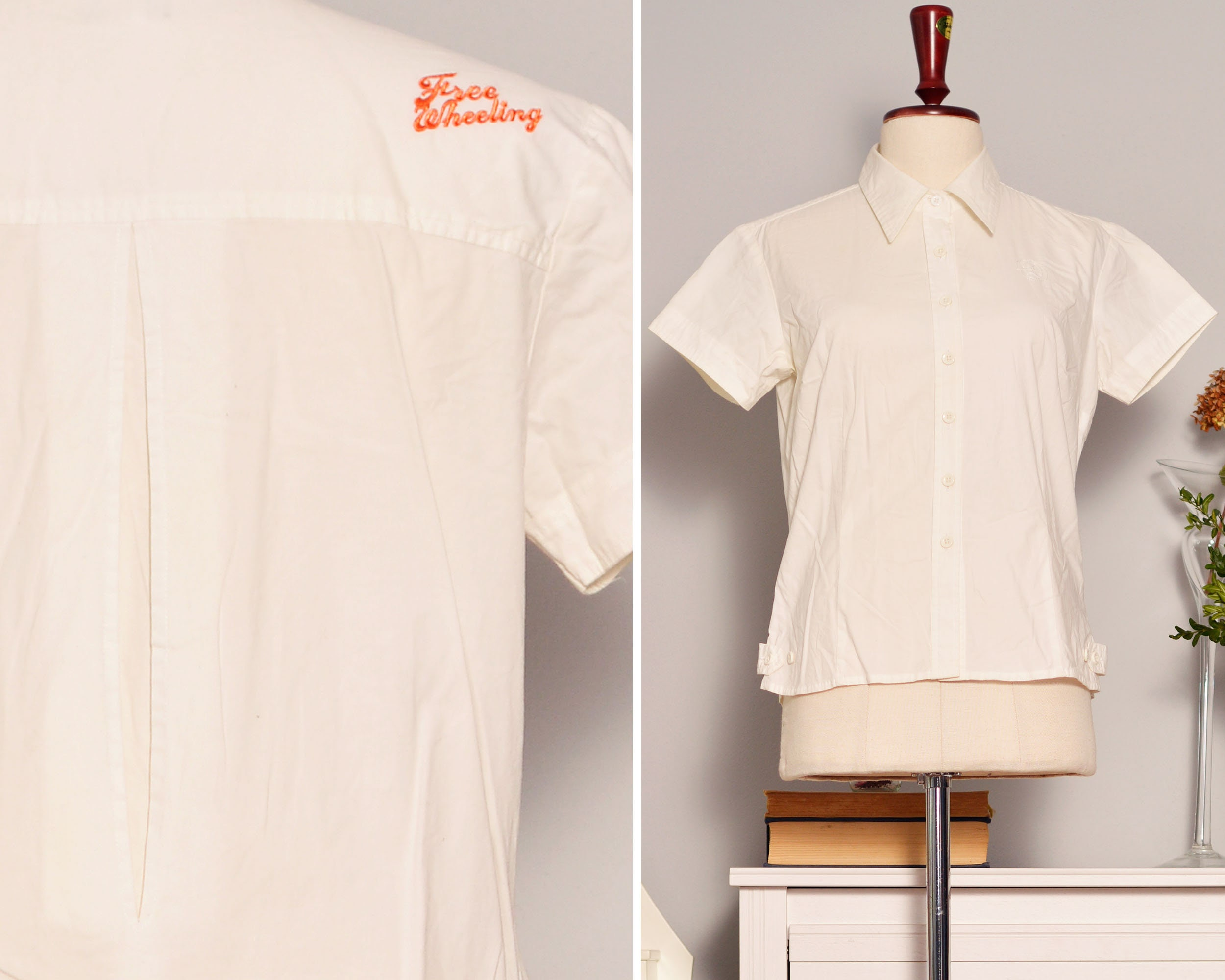 90s White Shirt Short Sleeve Blouse Button Up Sexy High Collar Etsy