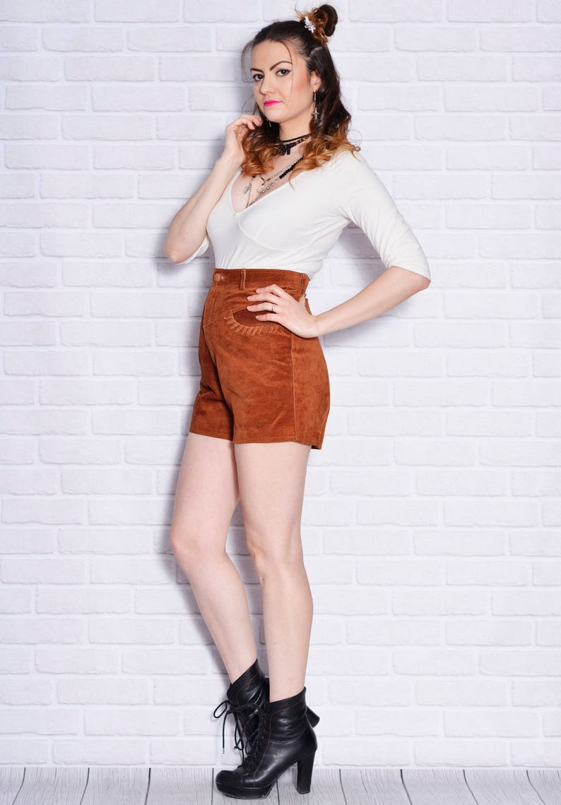 High Waisted Leather Shorts Short Pants Vintage Suede Indian Pocahontas Hippie Gypsy Cowgirl Festival Country Western
