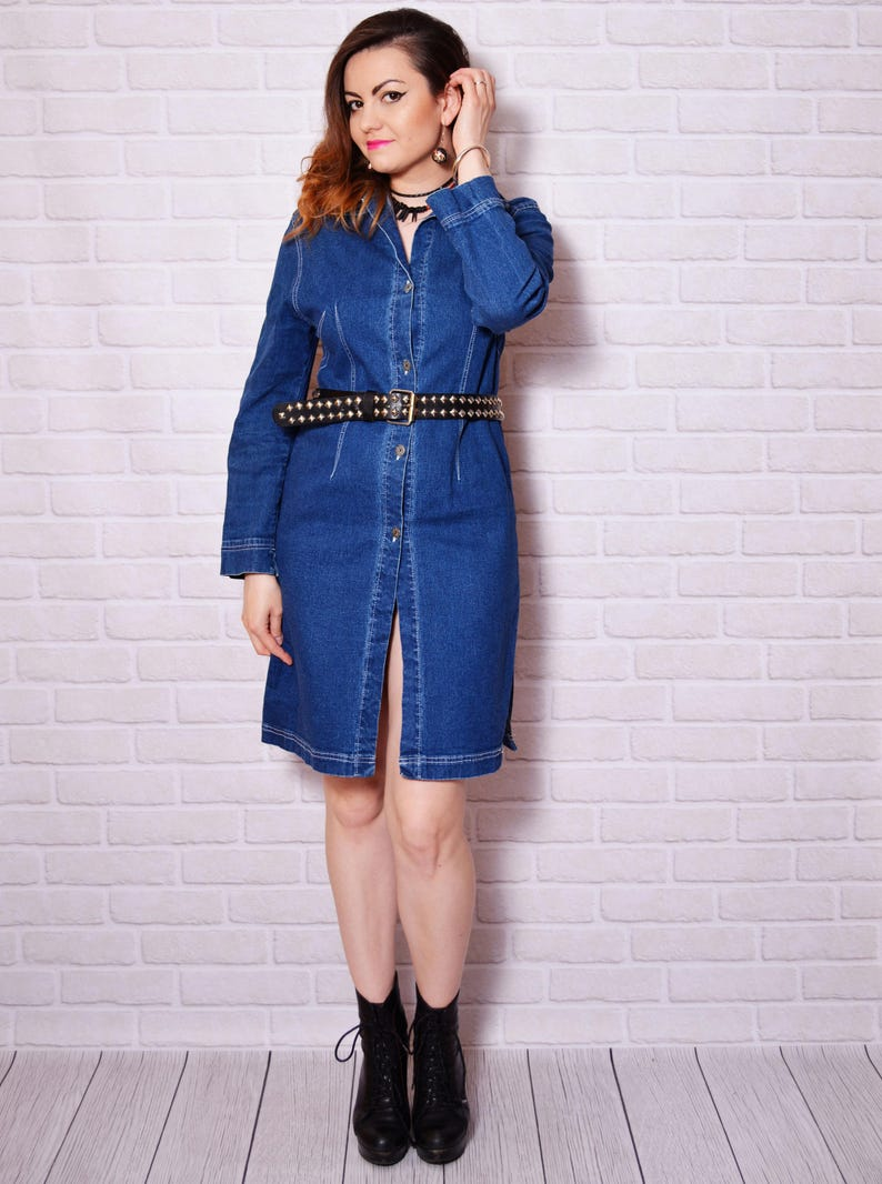 9a2e2f0a99 Denim Dress Jean Vintage Jeans Dresses Long Sleeve Buttoned