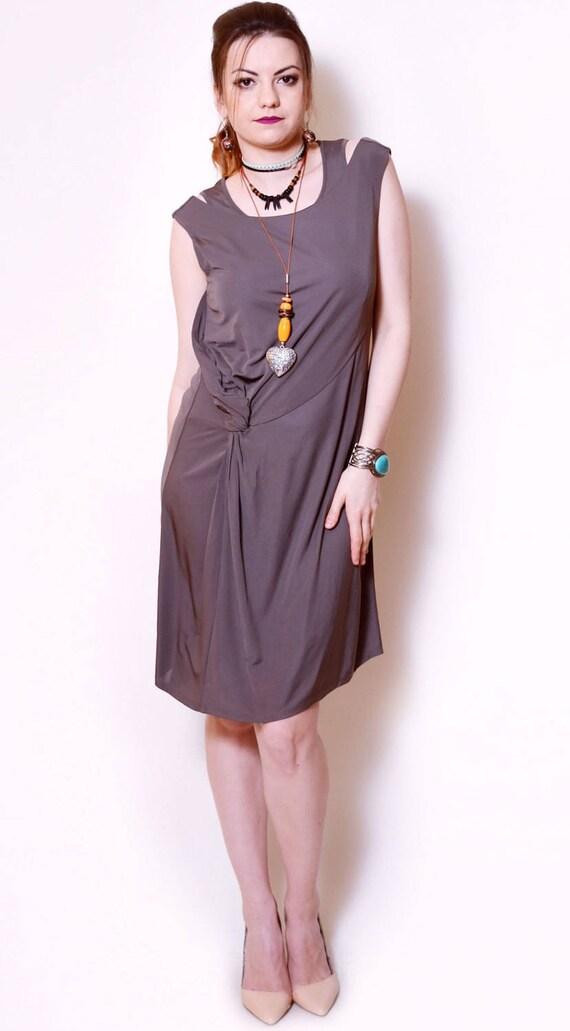 vestido gris midi vestido sexy chimenea nuevo asimétrica