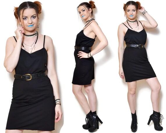 90s Slip Dress Bodycon Dresses Little Black Spaghetti Strap Etsy