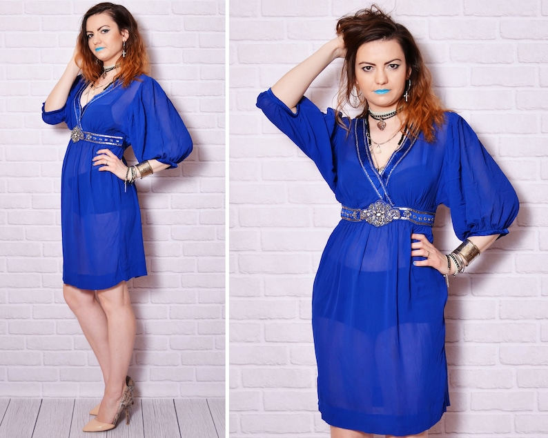 964fc3f32d 90s silk blue dress embellished pattern sequin embroidery
