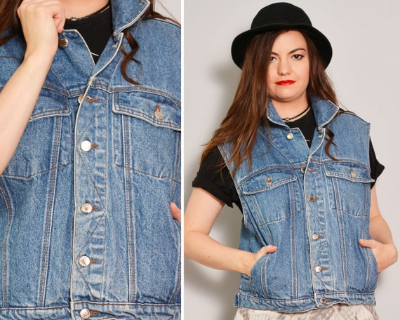 Casual Jean Vest with Pockets | Trucker Cut Sleeve