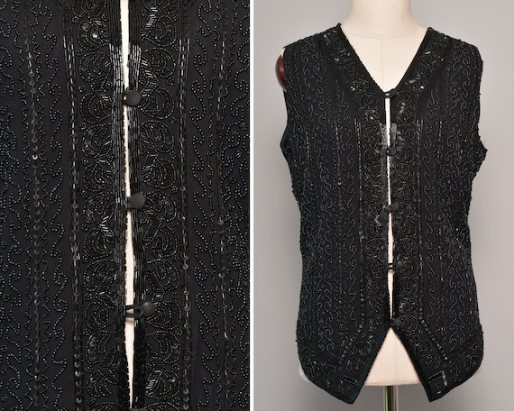Heavy Embroidery Black Stage Vest | Solid Tied Bac