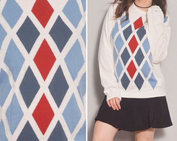 Argyle Pattern White Unisex Sweater | Blue Red Rho
