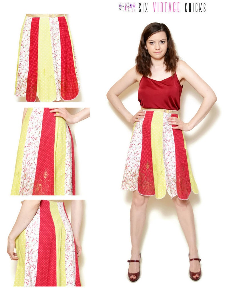 d22af0ac691 Mixed Print Panel Skirt | Polka Dot Rose Flower Meadow Grass Pattern Skirt  | Ribbon Trim High Waist | Scalloped Hemline A Line Skirt | Small
