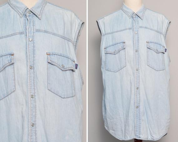Vintage 80s Unisex Washed Denim Sleeveless Shirt  