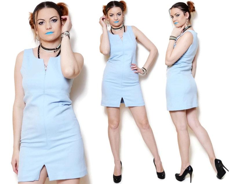 a336479f7cc Serré robes moulante 90 s bleu courte fente nuisette mini