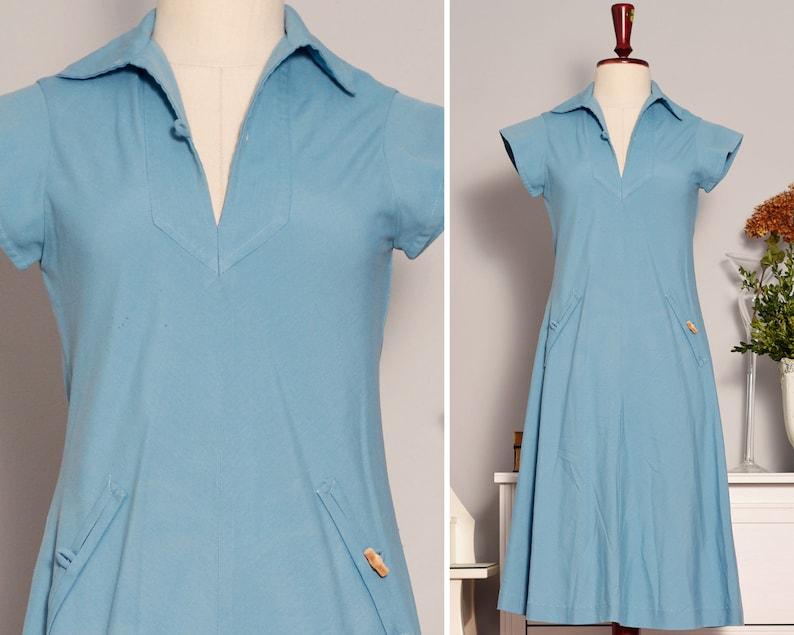 60s Day Dress Medium Casual Vintage Dress 1960s Dress Short Sleeves Blue Shift Dress Retro 60s Minimalist Dress