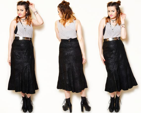 Patterned Goth Leather Black a waisted Sexy Animal Long flared Gothic Vintage Leather Suede high Skirt line Patchwork Trumpet Midi 7PZYxqp