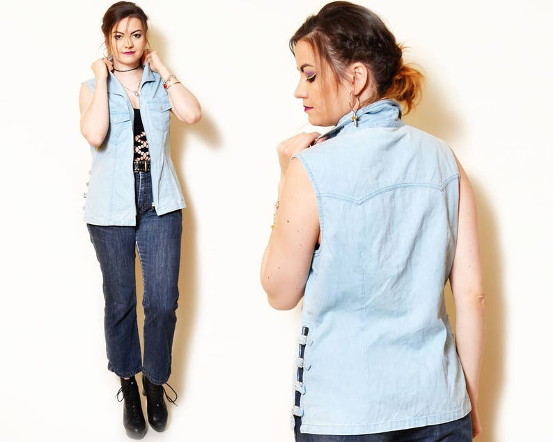 f336548a19f43 Blue vest denim sleeveless jacket jean woman cowboy clothes