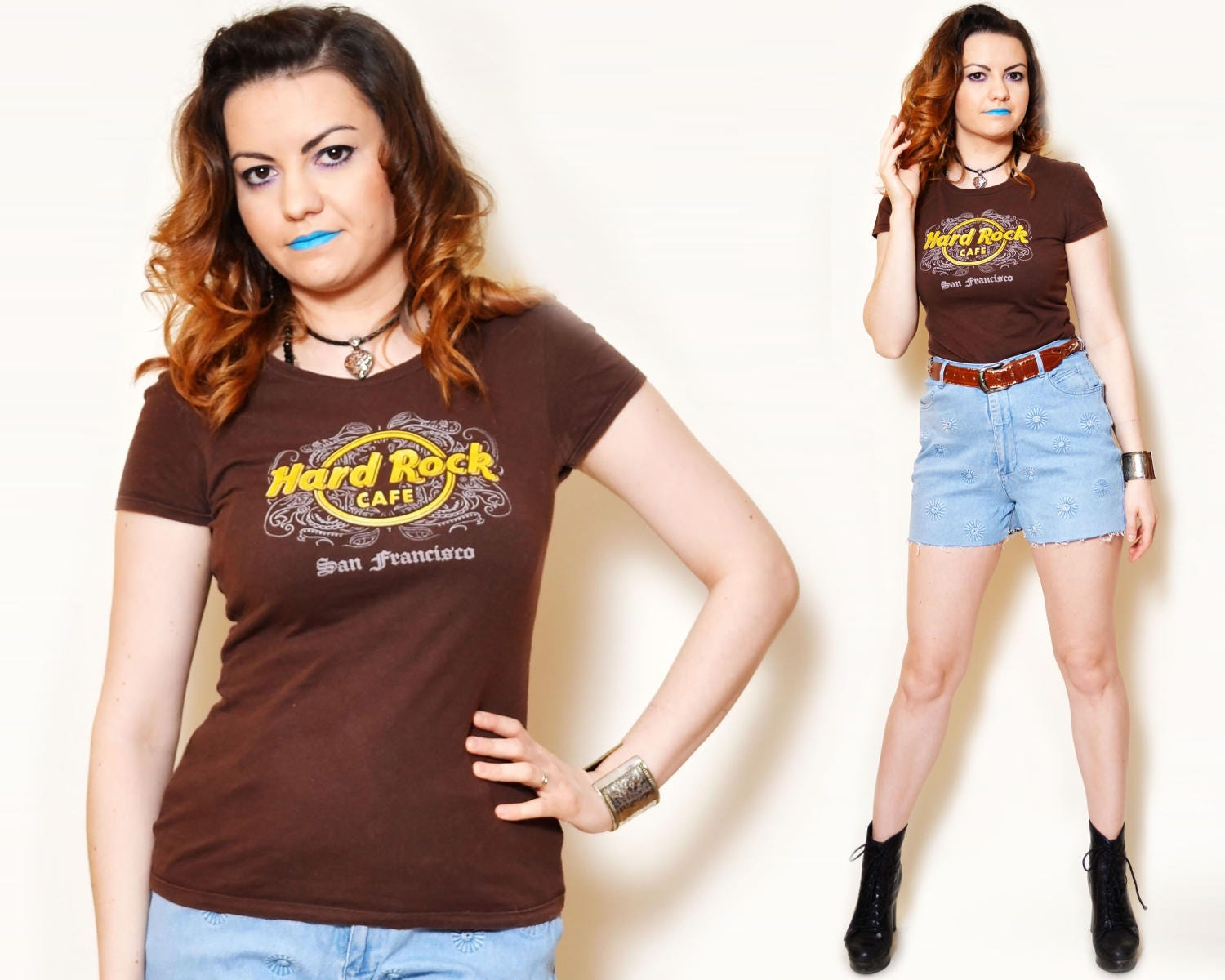e0aece60fc3bcd 90s brown tee hard rock cafe graphic pattern paisley fitted t