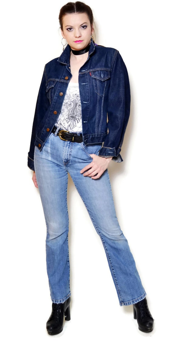 jean blue fitted casual short levis sexy trucker neck denim jackets jeans jacket rocker grunge levi high long 90s collar chick sleeve high IRqtff
