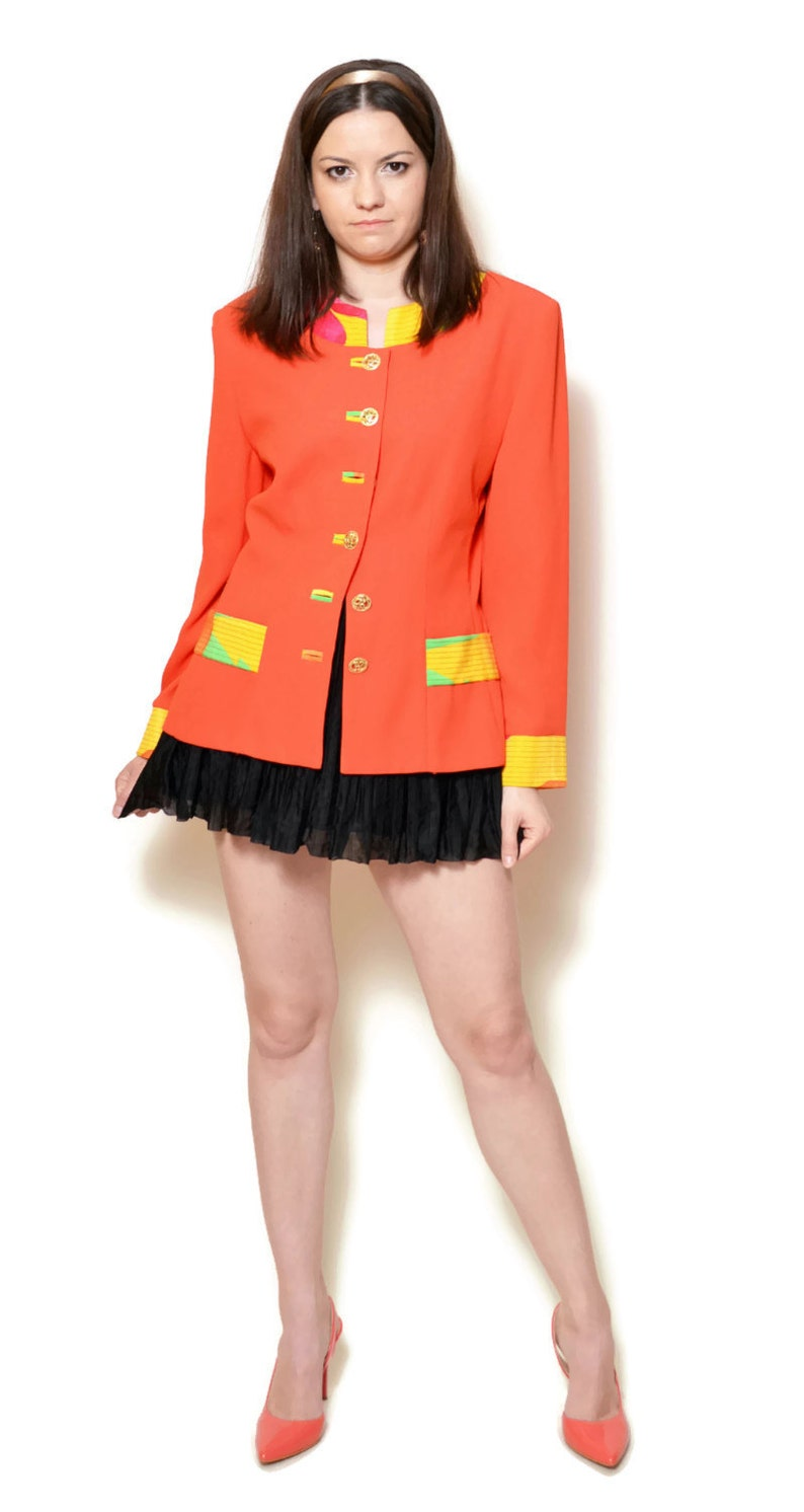 mod jacket 80s pin up woman orange ladies patterned mandarin collar long sleeve mod blazer vintage buttoned babydoll younique asian clothing